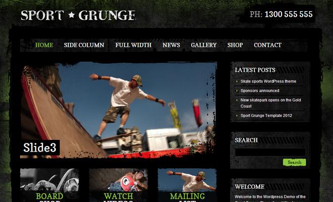 Sport and Grunge dark WordPress Themes